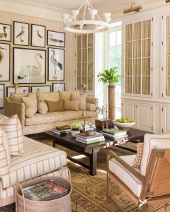Neutral palettes and layers of patterns make gives the living room a casual elegance.