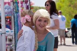 "A child meets ""Elsa"" at Mt Laurel's annual Spring Festival."