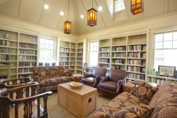 Comfy couches and armchairs invite visitors to settle in and enjoy a good book at the Mt Laurel Library.