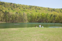 Residents enjoy serene views at Mt Laurel's Spoonwood Mountain Lake.