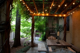 Gorgeous scenery makes this backyard patio the perfect entertainment space.