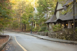 Tree lined streets and locally harvested stone accent the homes in Mt Laurel.